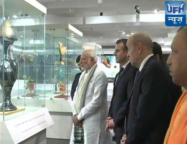 पीएम नरेंद्र मोदी के साथ फ्रांस के राष्ट्रपति ने देखा हस्तकला संकुल