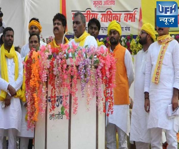 कुशीनगर मे कैबिनेट मंत्री ओम प्रकाश राजभर का बयान हर मतदाता को मिलना चाहिए 5000 रुपए मासिक पेंशन
