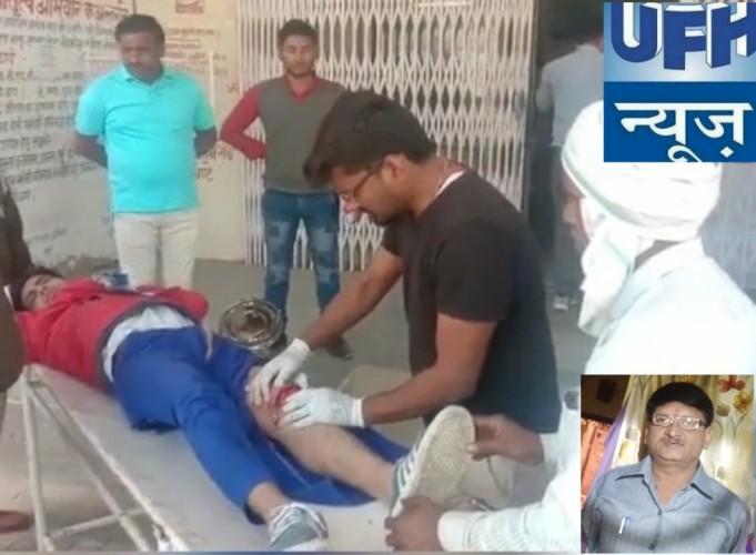 मथुरा के नोझिल में ई रिक्शा की टक्कर से बाइक सवार घायल