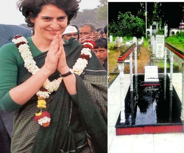 प्रियंका वाड्रा दादी के घर में रुकीं मगर पास में दादा की कब्र पर नहीं गई, भाजपाइयों ने चढ़ाए फूल