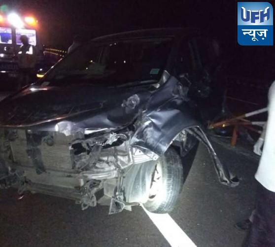 लखनऊ-आगरा एक्सप्रेस वे पर डिवाइडर से टकराई कार, लोजपा के नेता, भाभी समेत तीन घायल