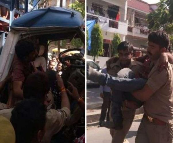 राजधानी लखनऊ मे कंटेनर में घुसी तेज रफ्तार DCM, वाहन की बॉडी काटकर निकाले गए चालक-क्लीनर