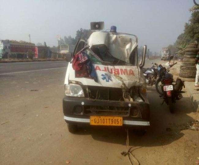संतकबीर नगर मे ट्रक में घुसी एम्बुलेंस, चालक समेत पांच घायल