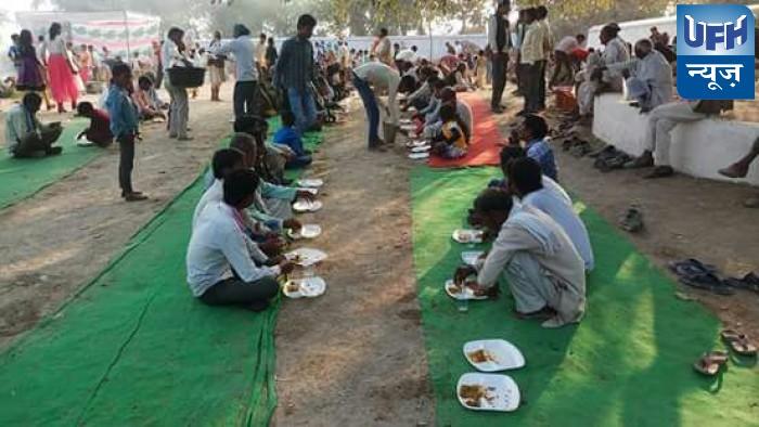 कबरई के ग्राम बीला दक्षिण में राम कथा के आखिरी दिन हुआ भंडारा