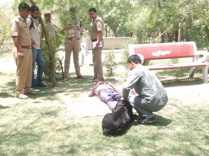 लुहिया पुलिस चौकी के पास मिला युवक का खून से सना शव