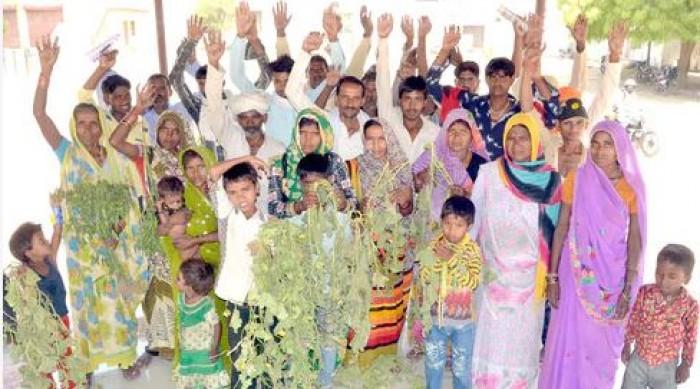 किसानों ने फसल उजाड़ने का आरोप लगाकर किया प्रदर्शन