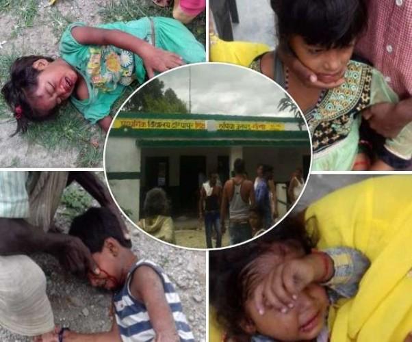 गोंडा के प्राथमिक विद्यालय दरियापुर में स्कूल की छत का प्लास्टर बीम सहित गिरा, छह छात्र घायल