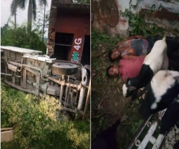 लखनऊ-सीतापुर हाइवे पर खंडहर में घुसा पिकअप वाहन, दो की मौत-तीन जख्मी
