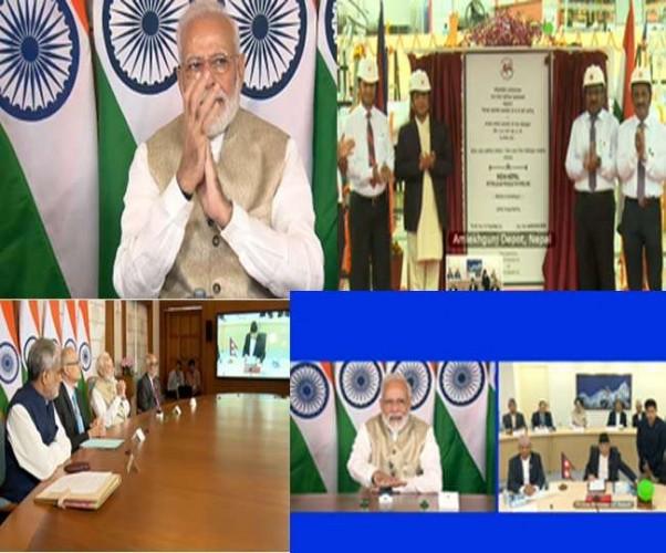 PM नरेंद्र मोदी व नेपाल के PM केपी ओली ने वीडियो कांफ्रेंसिंग के जरिए किया भारत-नेपाल पाइपलाइन का उद्घाटन