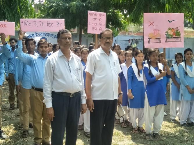 पोषण माह कार्यक्रम के अंतर्गत छात्र-छात्राओं द्वारा निकाली गई रैली