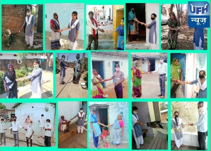 महोबा -साबुन व सेनेटाइजर वितरित कर दिया स्वच्छता का संदेश