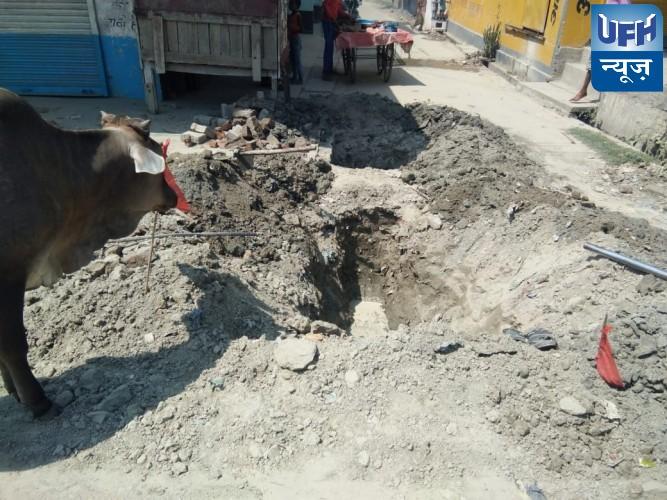 पानी टंकी के निर्माण कार्य मे ठेकेदार की घौर  लापरवारही