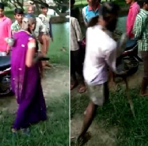 कन्नौज में प्रेमी युगल का सिर मुंडवाया और चेहरा काला कर पहनाई जूतों की माला