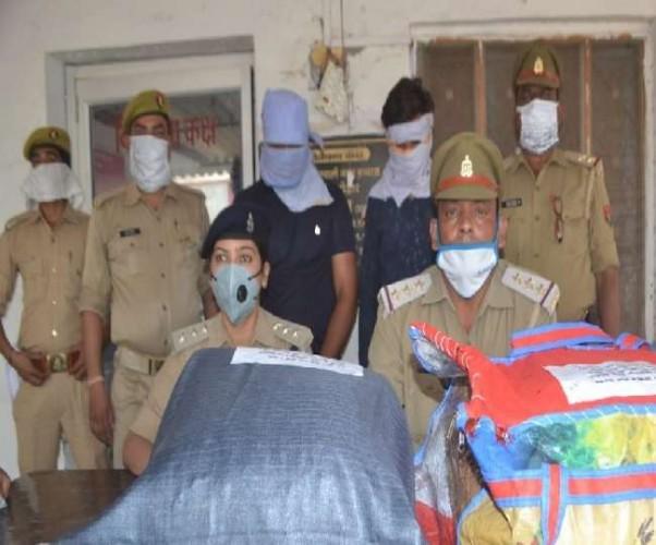 हाथरस पुलिस ने चार लाख के गांजे के साथ दो तस्कर दबोचे