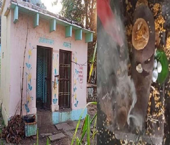 चित्रकूट के प्राचीन मंदिर से सुबह गायब हुई काल भैरव की मूर्ति दस घंटे बाद खेत से मिली