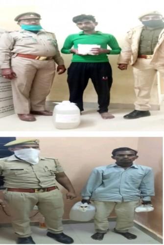 अवैद्य शराब के साथ दो अभियुक्तों पर पुलिस ने की कार्रवाई