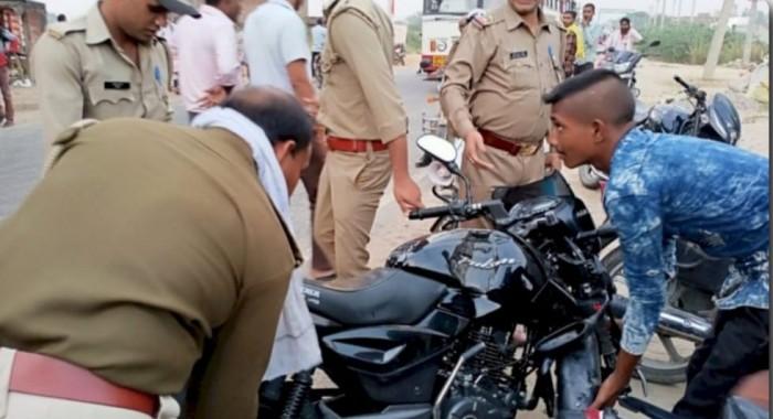 तेज रफ्तार बाइक के आमने-सामने टक्कर में युवक घायल बाइक के उड़े परखच्चे