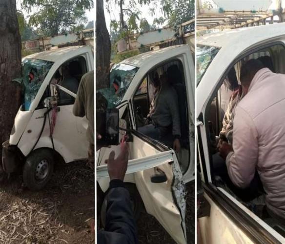 सोनभद्र में अनियंत्रित मैजिक पेड़ से टकराई, एक की मौत और दो लोग घायल
