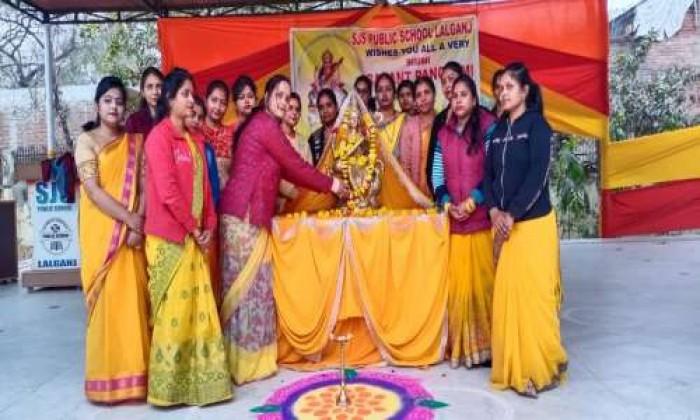 एस. जे. एस.पब्लिक स्कूल लालगंज में मनाया गया बसंत पंचमी का त्योहार