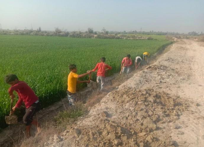 पखनपुर गांव में धड़ल्ले से मनरेगा में कराई जा रही बाल मजदूरी