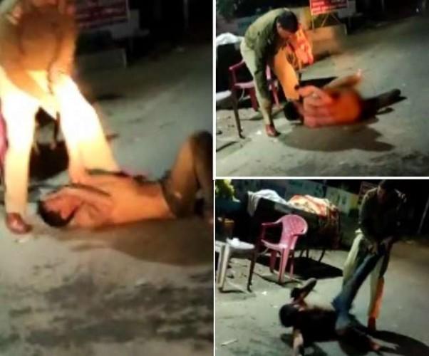 सीतापुर में दारोगी जी की सरेआम गुडंई, अर्धनग्न कर युवक को घसीट-घसीटकर लात-घूसों से पीटा