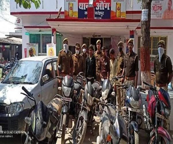 फतेहपुर में झाडिय़ों से चोरी की कार व सात बाइकें बरामद, तीन शातिर गिरफ्तार