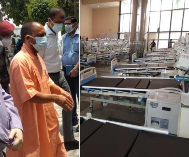 कोरोना को हराने के बाद मोर्चे पर CM योगी आदित्यनाथ, लखनऊ में बने DRDO अस्पताल का किया निरीक्षण