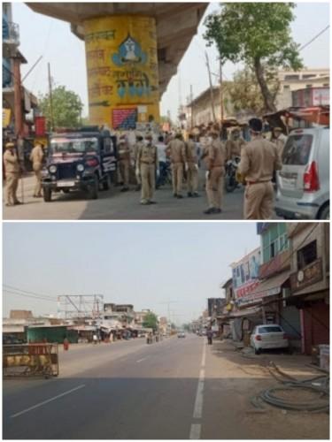 बछरावां थाने के कोतवाल राकेश सिंह के नेतृत्व में भारी पुलिस बल के साथ कस्बे में निकाला पैदल मार्च