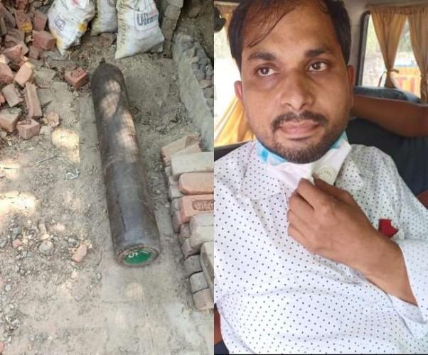 लखनऊ में सेना और पुलिस ने 45 हजार रूपए में ऑक्सीजन सिलिंडर बेचने वाले को दबोचा