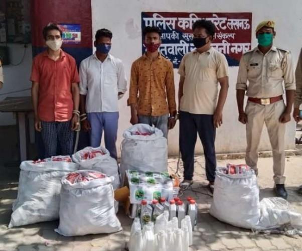 लखनऊ में नकली माल पर ब्रांडेड कंपनी की पैकिंग का खेल उजागर,चार गिरफ्तार