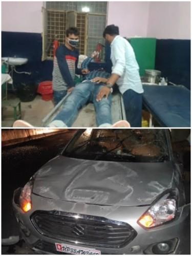 कार पलटने से पांच व्यक्ति घायल एक की हालत गंभीर जिला