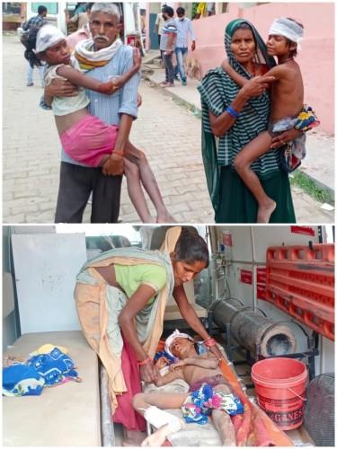 रोड पार कर रही तीन बच्चियों को बाइक सवार ने मारी जोरदार टक्कर, तीनों बच्चियां हुई घायल