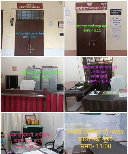 जनता दर्शन के निर्धारित समय पर अधिकारियों के कार्यालयों में लटके मिले ताले