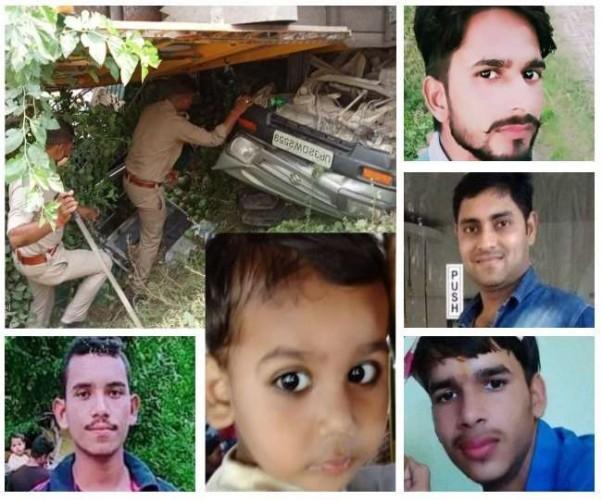 लखनऊ में मारूति वैन पर पलटा तेज रफ्तार ट्रक, पांच लोगों की मौत