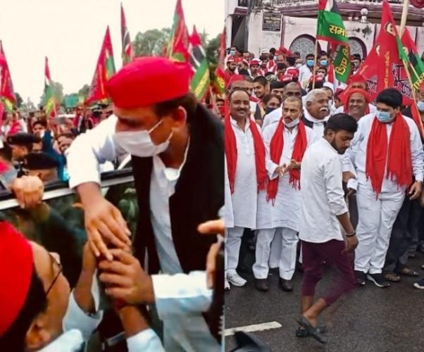 सपा अध्यक्ष अखिलेश यादव बंथरा से समाजवादी रथ पर हुए सवार