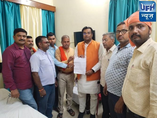 किसानों ने क्षेत्रीय विधायक पटेल शंशाक वर्मा को दिया ज्ञापन