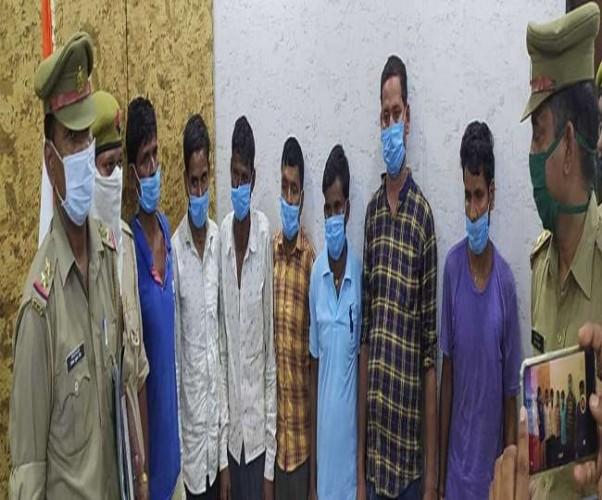 औरैया में पकड़े गए अंतरजनपदीय गिरोह के सात सदस्य